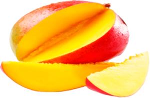 Спелый плод манго с двумя дольками картинка