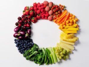 Фрукты и овощи лежат в форме круга картинка