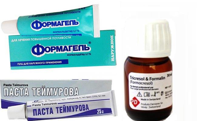 Формагель, Паста Теймурова, Формалин
